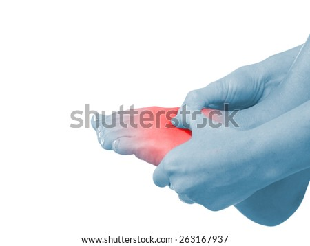 Pain in a foot. sports trauma. Health concept. - stock photo