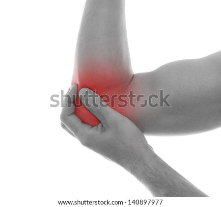Pain in elbow.Medical concept - stock photo
