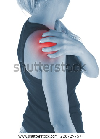 Pain in woman shoulder. Female holding hands on spot pain shoulder. - stock photo