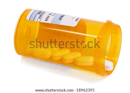 Pain Medicine bottle with selective focus on Pain/Pills - stock photo