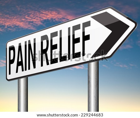 pain relief and management by pain killer or other treatment chronic pains sign   - stock photo