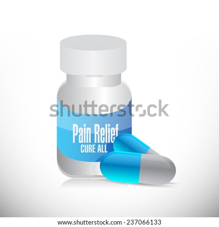 pain relief pills and jar illustration design over a white background - stock photo