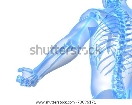 painful elbow illustration - stock photo