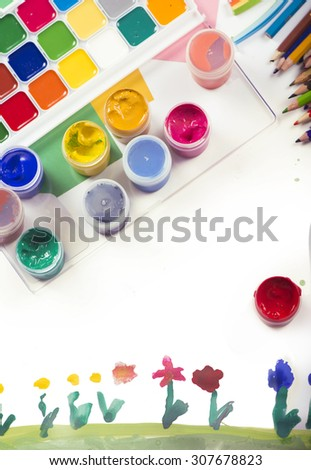 paint and painted flower child - stock photo