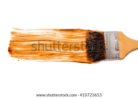paint brush and dab of balsamic vinegar. balsamic sauce. texture. sample and brush isolated on white background. top view, flat lay - stock photo