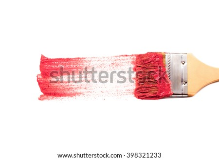 paint brush and dab of pink scrub skin. strawberry scrub. texture. sample and brush isolated on white background. - stock photo