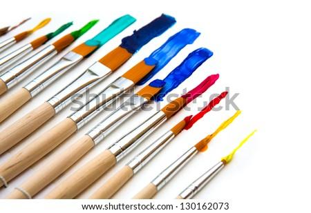 Paint brush and paint - stock photo