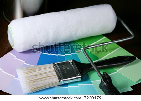 Paint Brush and Roller with Swatches - stock photo