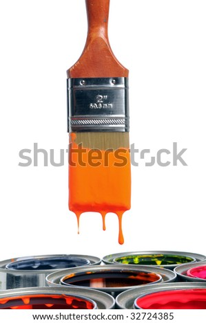 Paint brush dripping over open cans isolated over white background - stock photo