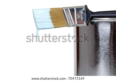 paint brush on a can dripping - stock photo
