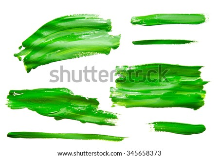 Paint brush strokes texture green watercolor isolated on a white background - stock photo