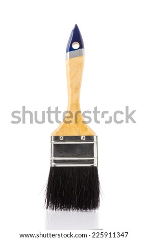 Paint brush with black feather isolated on white background. - stock photo