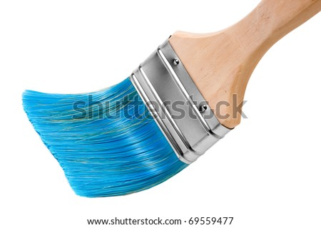paint brush with blue bristles, isolated on white - stock photo