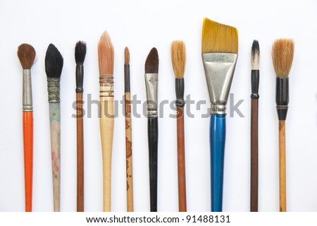 Paint brushes isolated on the white background - stock photo