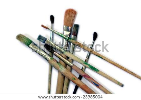 Paint brushes on white background - stock photo