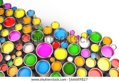 paint buckets - stock photo