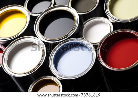 Paint cans, Background color - stock photo