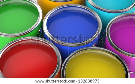 paint cans open with various colors, viewed from above. - stock photo
