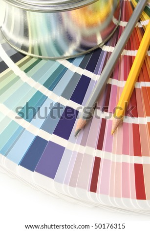 Paint color chart sample swatches, paint can and pencils - stock photo