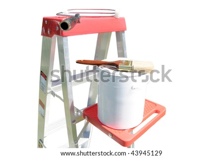 Paint equipment isolated on a white background - stock photo