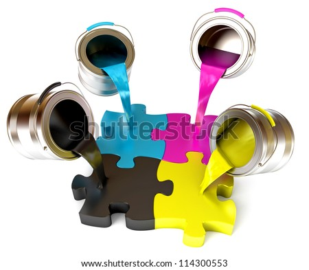Paint fill a container in the form of a puzzle (CMYK Concept). Pouring paints of CMYK colors from its buckets. Isolated on white background. 3d render - stock photo