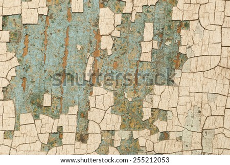 Paint is chipping off this old antique door giving it artistic texture for a new design. - stock photo