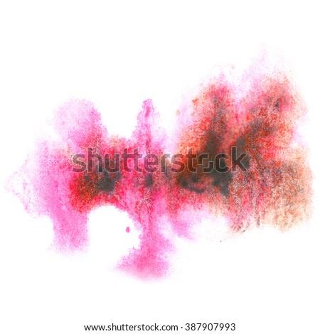 paint pinc black splash color ink watercolor isolated stroke splatter watercolour aquarel brush - stock photo