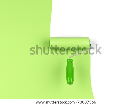 Paint roller and blue paint. 3d image. - stock photo