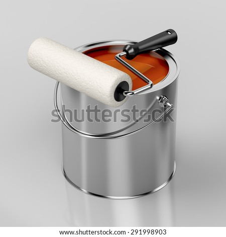 Paint roller and metal can with orange paint - stock photo