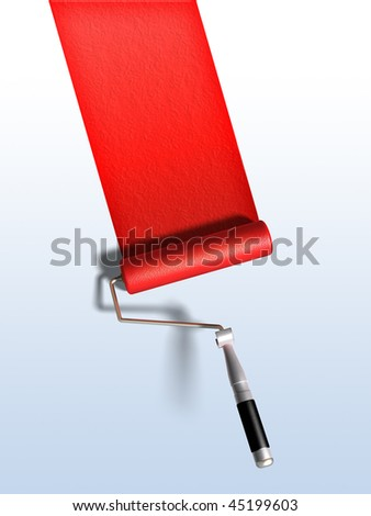 Paint roller and red paint stripe. Digital illustration, clipping path included. - stock photo