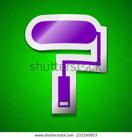 Paint roller icon sign. Symbol chic colored sticky label on green background.  illustration - stock photo
