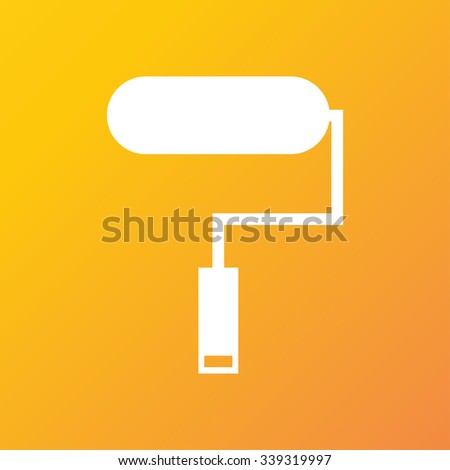 Paint roller icon symbol Flat modern web design with long shadow and space for your text. illustration - stock photo