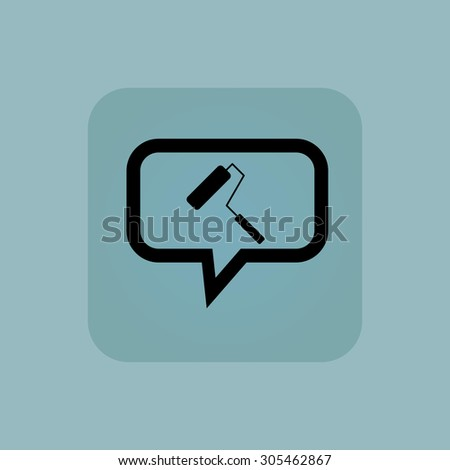 Paint roller in chat bubble, in square, on pale blue background - stock photo