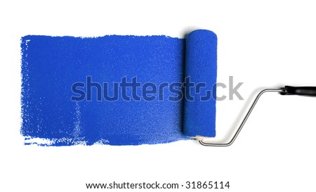 Paint roller leaving stroke of blue paint over a white background - stock photo