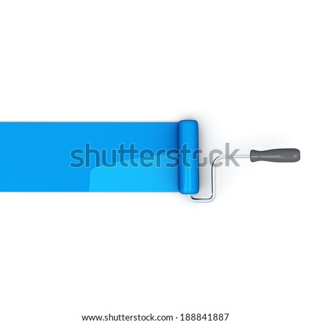 Paint roller leaving trail of blue shiny paint over a white background, 3d illustration - stock photo