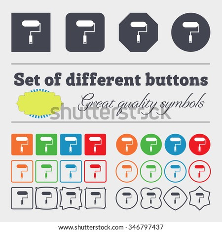 Paint roller sign icon. Painting tool symbol. Big set of colorful, diverse, high-quality buttons. illustration - stock photo