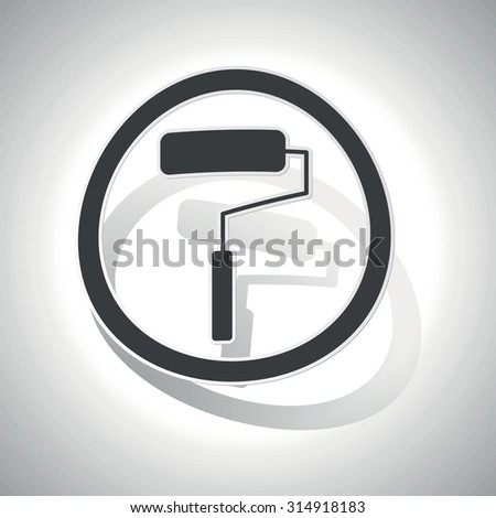 Paint roller sign sticker, curved, with outlining and shadow - stock photo