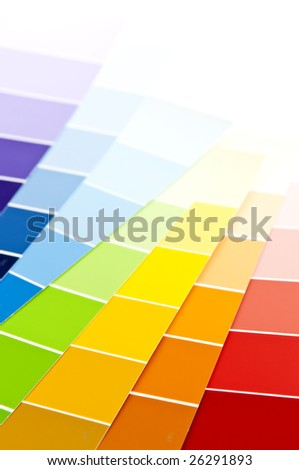 Paint  sample cards of many shades and colors - stock photo