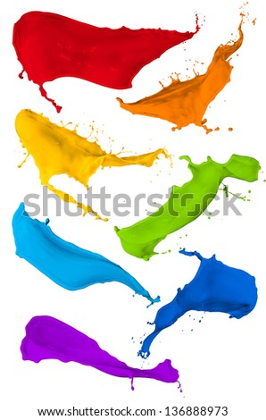 paint splash collection, isolated on white background - stock photo