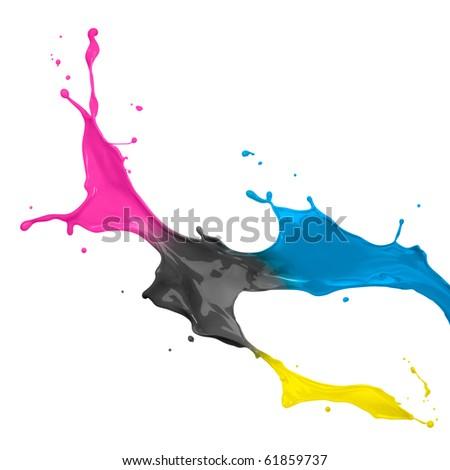 paint splash of cyan, magenta, yellow and black - stock photo
