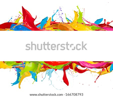 Paint splashes frame isolated on white background - stock photo