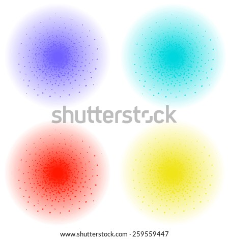 Paint spray effect. Purple, aqua, red, yellow color splashes. Raster clip art illustration isolated on white - stock photo