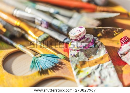 Paint, studio, art. - stock photo