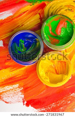 Paint. Watercolors and brushes - stock photo