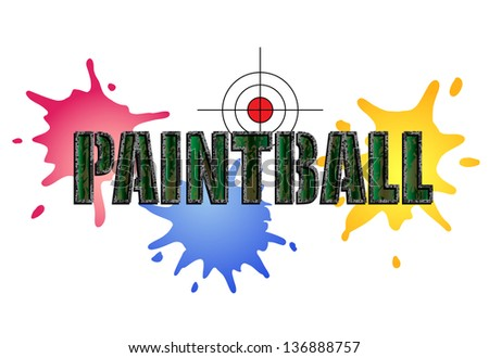 Paintball logo in camouflage style with paint smears and target - stock photo