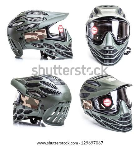 Paintball mask on white background - stock photo