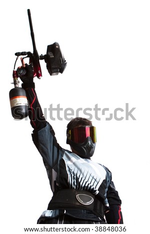 paintball shooter holding a gun, isolated on white - stock photo