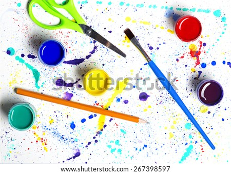 Paintbrush and gouache paint abstract art on white background - stock photo