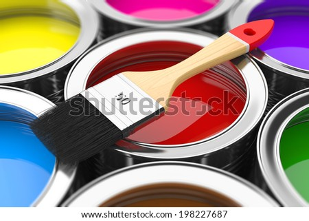 Paintbrush on cans with color prints. Concept - stock photo