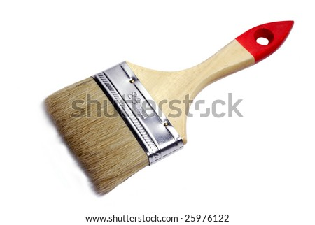 Paintbrush with a wooden handle isolated on a white background - stock photo